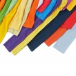 Sleeves of colorful clothing on white background — Stock Photo