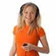 Smiling girl with headphones and mp3 player — Stock Photo #22227127