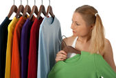 Young woman in a clothing store — Stock Photo