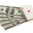 Deck of cards and money on white background — Stock Photo #22235843
