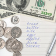 Shopping list, money and pen — Stock Photo