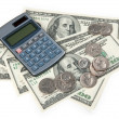 Calculator and US money — Stock Photo