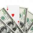 Ace of hearts and money — Stock Photo #22236017