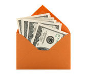 Money in an orange envelope — Stock Photo