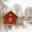 Stock Photo: Very old red wooden house in snowy forest
