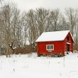 Stock Photo: Traditional Swedish red wooden house in snow