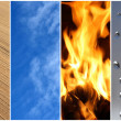 Stock Photo: Four elements. Earth, air, fire, water.