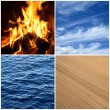 Fire, water, air, earth. Four elements. — Stock Photo