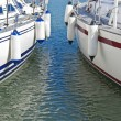 Colorful motorboats on calm water — Stock Photo #22338091