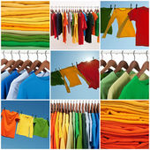 Variety of multicolored casual clothing — Stock Photo