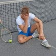 Lost game. Disappointed tennis player. — 图库照片