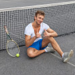 Tennis player showing thumbs up — Stock Photo