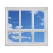 Azul céu, visto através da janela — Foto Stock
