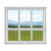 Krajobraz lato widać przez okno — Zdjęcie stockowe