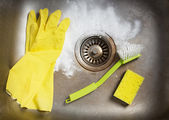 Preparing to clean the sink — Stock Photo
