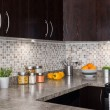 Modern kitchen with cozy lighting — Stock Photo