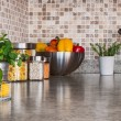 Stock Photo: Kitchen countertop with food ingredients and herbs