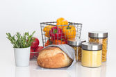Bread, pasta, millet, vegetables and rosemary — Stock Photo