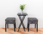 Table for two decorated with green plant — Stock Photo