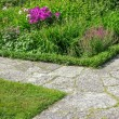 Stock Photo: Stone paths in flowering garden