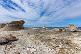 Rocky coast with limestone cliffs in Sweden — Stock Photo