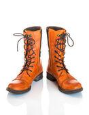 橙色皮革靴子 — 图库照片