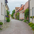 Street with old houses in a Swedish town Visby — Stock Photo
