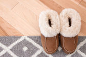 Rug and slippers on wooden floor — Stock Photo