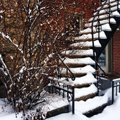 Staircase covered by snow — Stock Photo