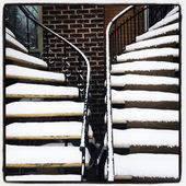 Staircases covered by snow — Stock Photo