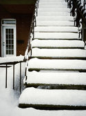 Staircase after snowstorm — Stock Photo