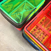 Colorful shopping baskets — Stock Photo