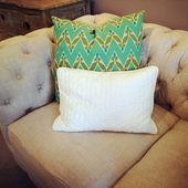 Retro style sofa with cushions — Stock Photo