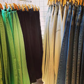 Jeans for sale in a clothing store — Stock Photo