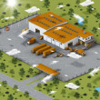 Warehouse in isometric view - Stock Photo