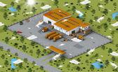 Warehouse in isometric view — Stock Photo