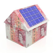 Solar energy savings pounds — Stock Photo