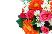 Vase of colorful flowers on a white background — Stock Photo