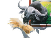Painted buffalo eat straw — Stock Photo