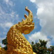 Stock Photo: Colorful golden dragon statue in temple