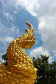 Colorful golden dragon statue in the temple — Stock Photo