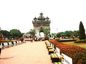 Triumphal arch in Laos — Stock Photo