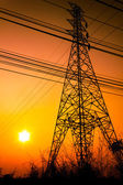 High voltage power pole middle of a cornfield with orange sky — Stockfoto