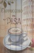 Coffee cup painting on board. — Zdjęcie stockowe