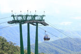 DANANG,VIETNAM - JULY 15: Tourists passenger cable car up the beautiful views on the mountain on July 15,2014 in Danang,vietnam — Stok fotoğraf