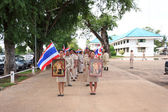 MAHASARAKHAM,THAILANDS - AUGUST 8 : Village Headman and Leader went on a campaign in the district on august 8, in Mahasarakham,Thailand — Stockfoto