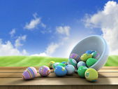 Easter eggs outside — Stock Photo