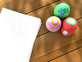 Easter eggs notebook — Stock Photo