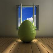 Egg on a window — Stock Photo