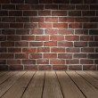 Stock Photo: Brick wall wood floor